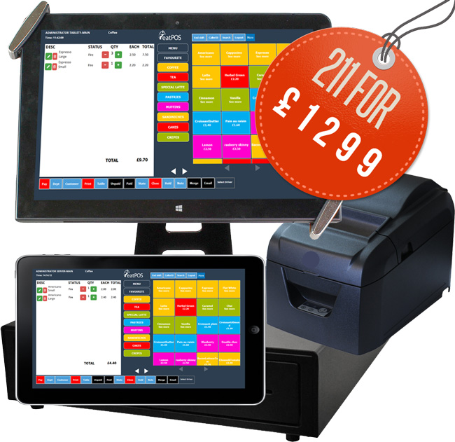 2 touch screen tablets, 1 printer, 1 drawer EPOS