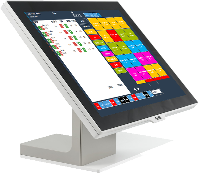 aures main terminal stylish with eatPOS EPOS point of sale software and cash drawer and printer