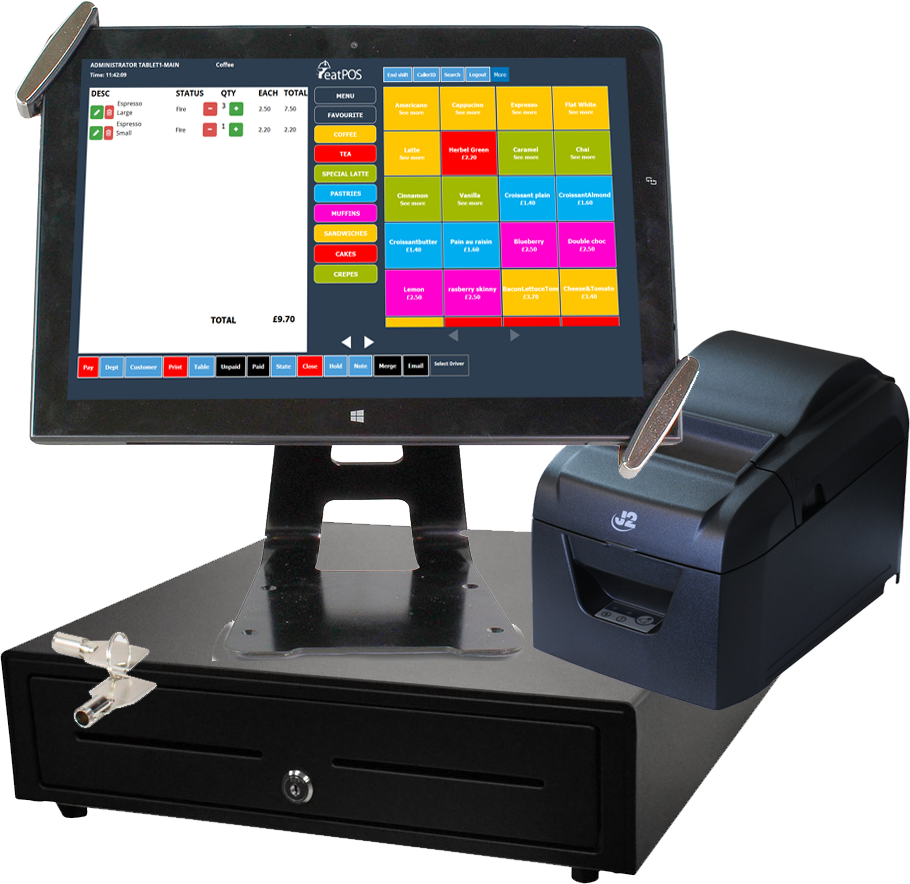 tablet stand epos system drawer printer