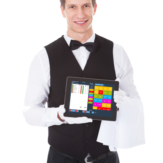 waiter holding eatPOS handheld ordering tablet wireless electronic